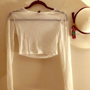 Forever 21 Sheer White Crop Top